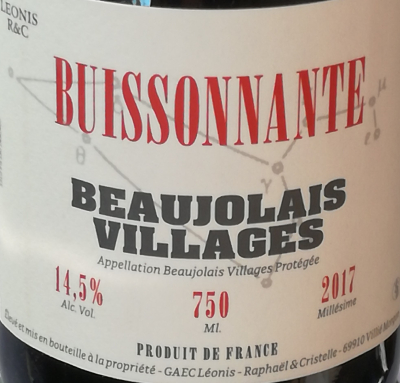 BUISSONNANTE - ROUGE - 75CL - BEAUJOLAIS VILLAGES - 2017 - 14,5%