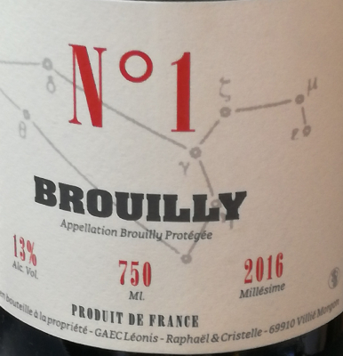 BROUILLY - ROUGE - N°1 - BEAUJOLAIS - 2016 - 75CL - 13 %